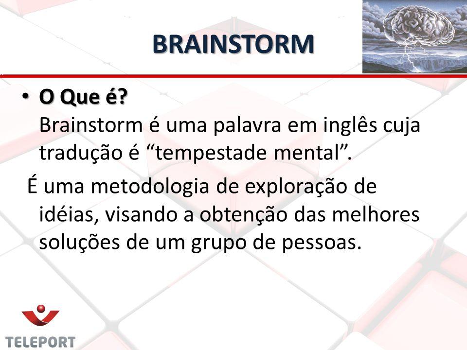 BRAINSTORM O Que é Brainstorm é uma palavra em inglês cuja tradução é tempestade mental .