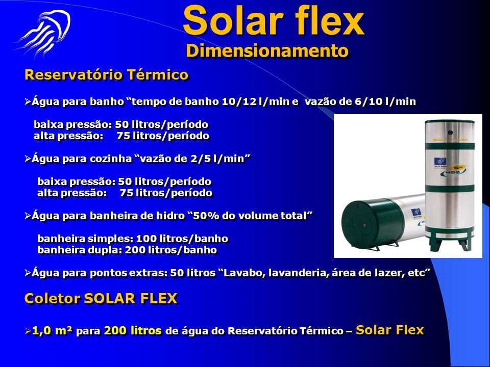 Solar flex Dimensionamento Reservatório Térmico Coletor SOLAR FLEX