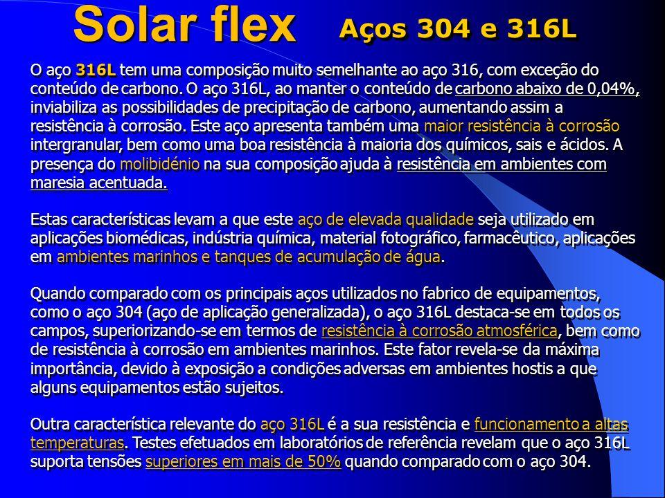 Solar flex Aços 304 e 316L.