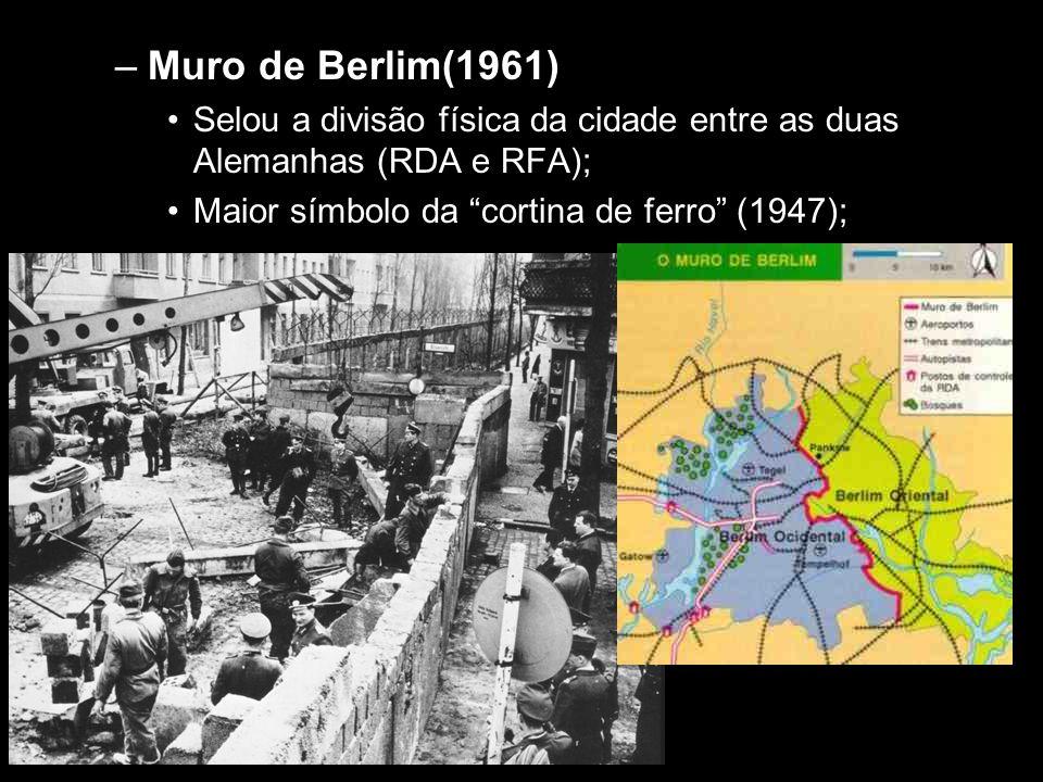 Muro de Berlim(1961) Selou a divisão física da cidade entre as duas Alemanhas (RDA e RFA); Maior símbolo da cortina de ferro (1947);