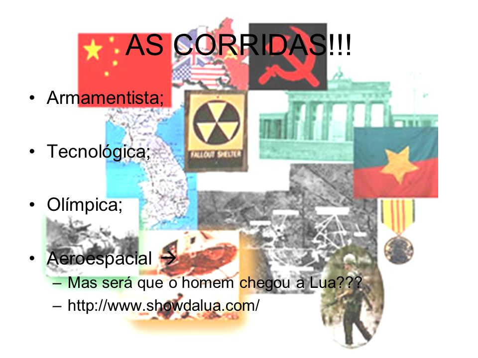 AS CORRIDAS!!! Armamentista; Tecnológica; Olímpica; Aeroespacial 