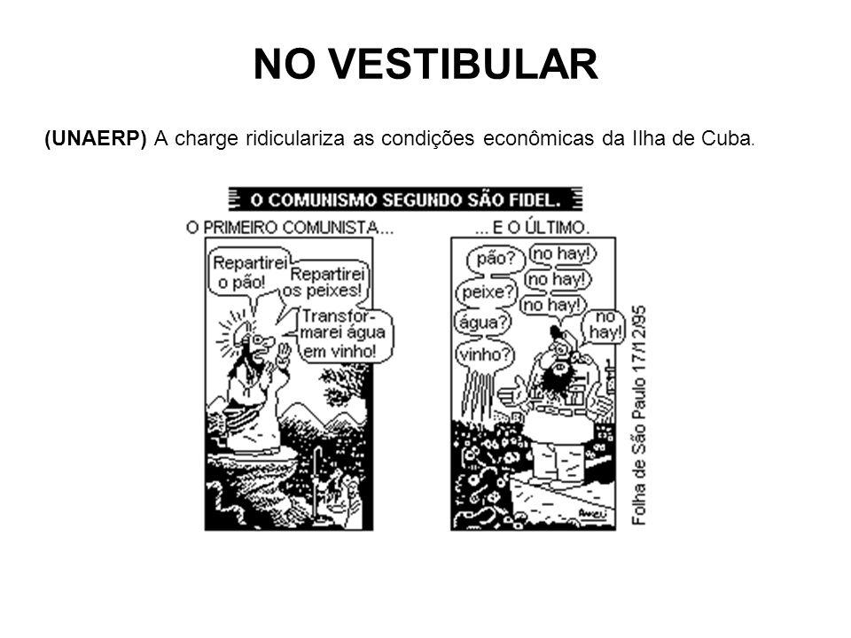 NO VESTIBULAR (UNAERP) A charge ridiculariza as condições econômicas da Ilha de Cuba.
