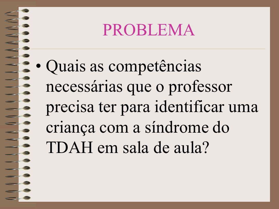 PROBLEMA Quais as competências necessárias que o professor precisa ter para identificar uma criança com a síndrome do TDAH em sala de aula