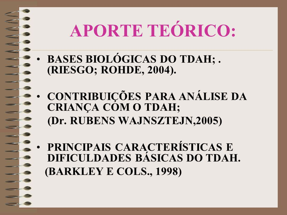 APORTE TEÓRICO: BASES BIOLÓGICAS DO TDAH; . (RIESGO; ROHDE, 2004).