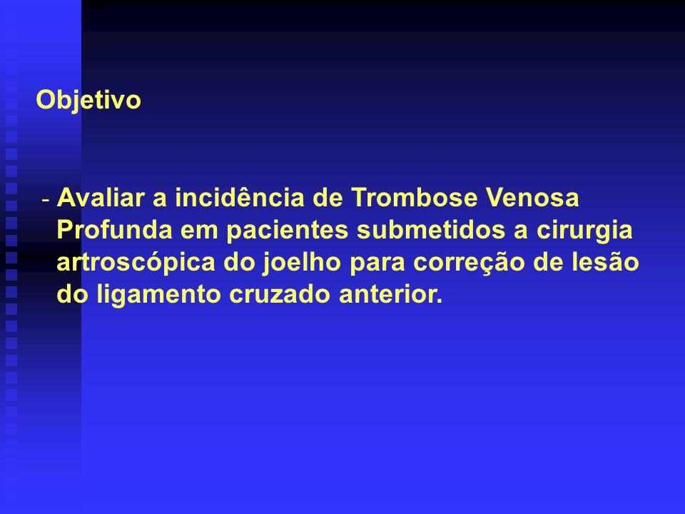 Objetivo Avaliar a incidência de Trombose Venosa. Profunda em pacientes submetidos a cirurgia. artroscópica do joelho para correção de lesão.