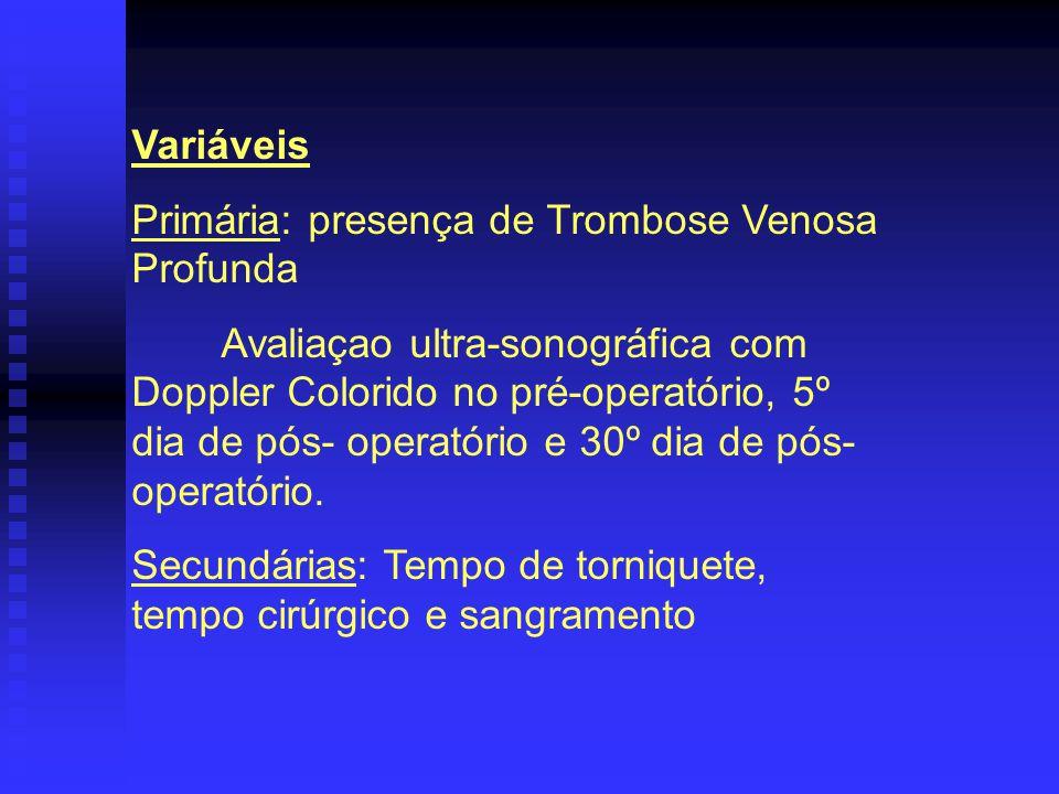 Variáveis Primária: presença de Trombose Venosa Profunda.