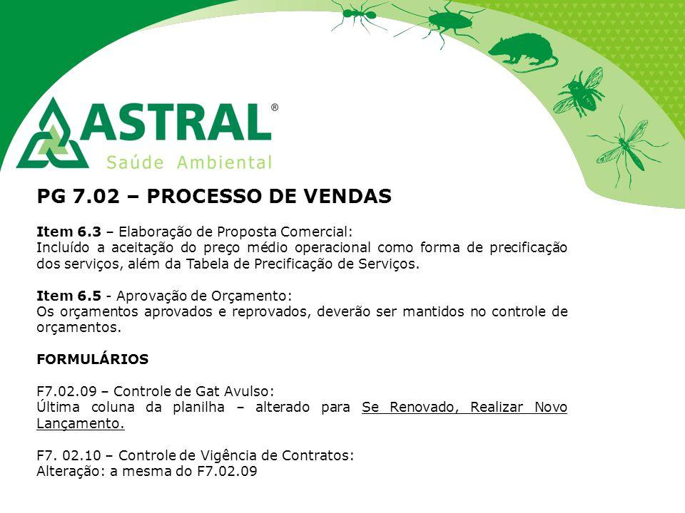 PG 7.02 – PROCESSO DE VENDAS Item 6.3 – Elaboração de Proposta Comercial:
