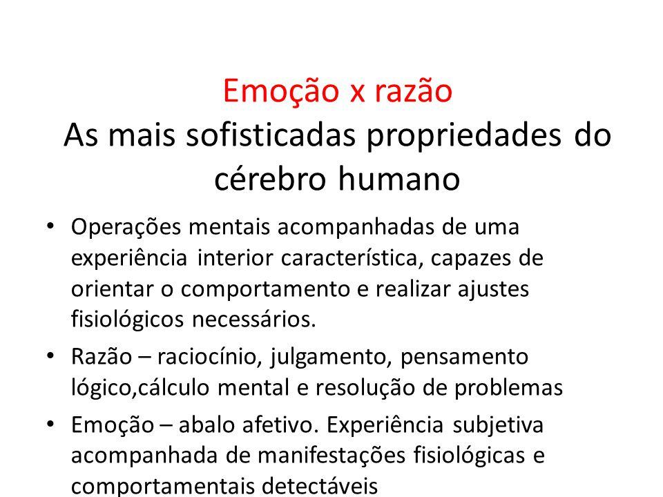 Emoção x razão As mais sofisticadas propriedades do cérebro humano