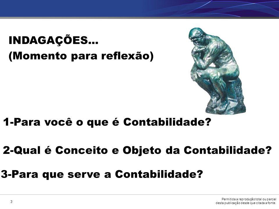 INDAGAÇÕES... (Momento para reflexão) 1-Para você o que é Contabilidade 2-Qual é Conceito e Objeto da Contabilidade