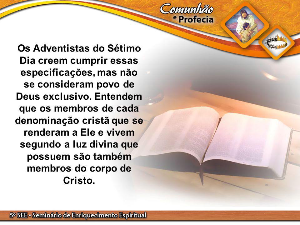 Os Adventistas do Sétimo Dia creem cumprir essas especificações, mas não se consideram povo de Deus exclusivo.