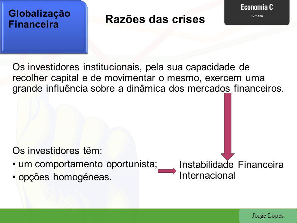 Razões das crises Globalização Financeira