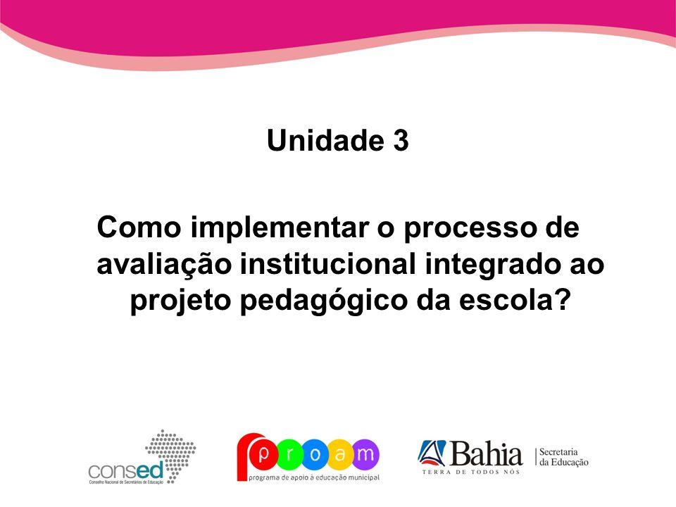 Unidade 3 Como implementar o processo de avaliação institucional integrado ao projeto pedagógico da escola