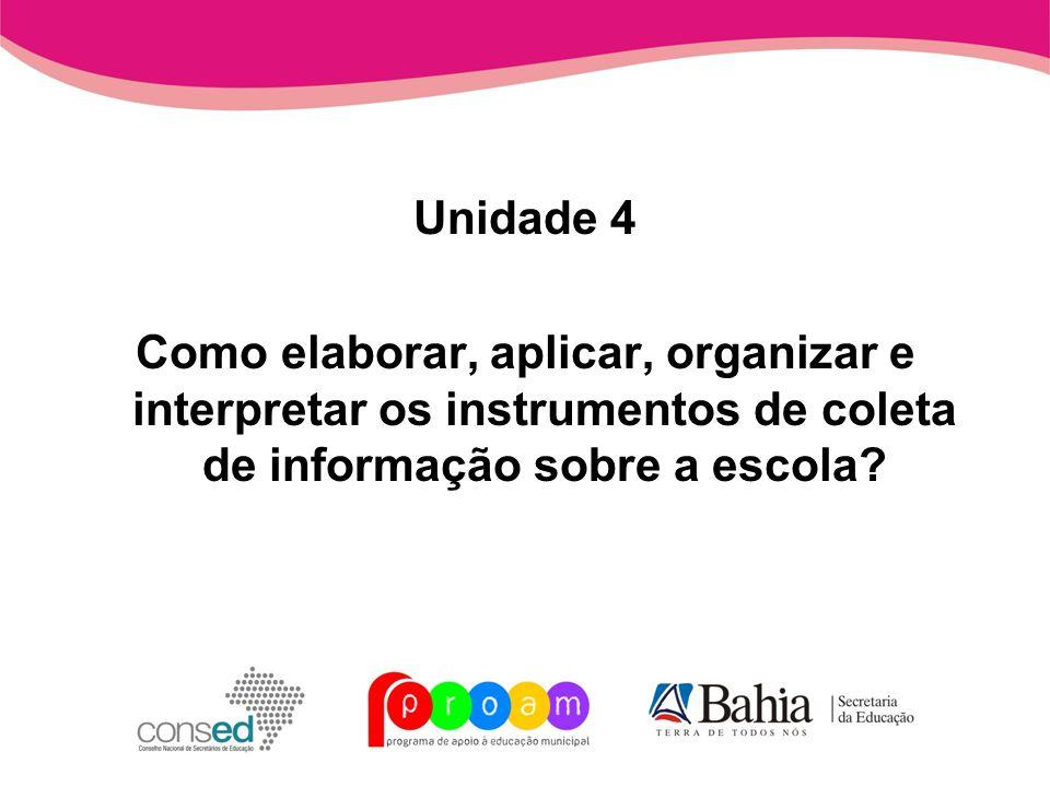 Unidade 4 Como elaborar, aplicar, organizar e interpretar os instrumentos de coleta de informação sobre a escola