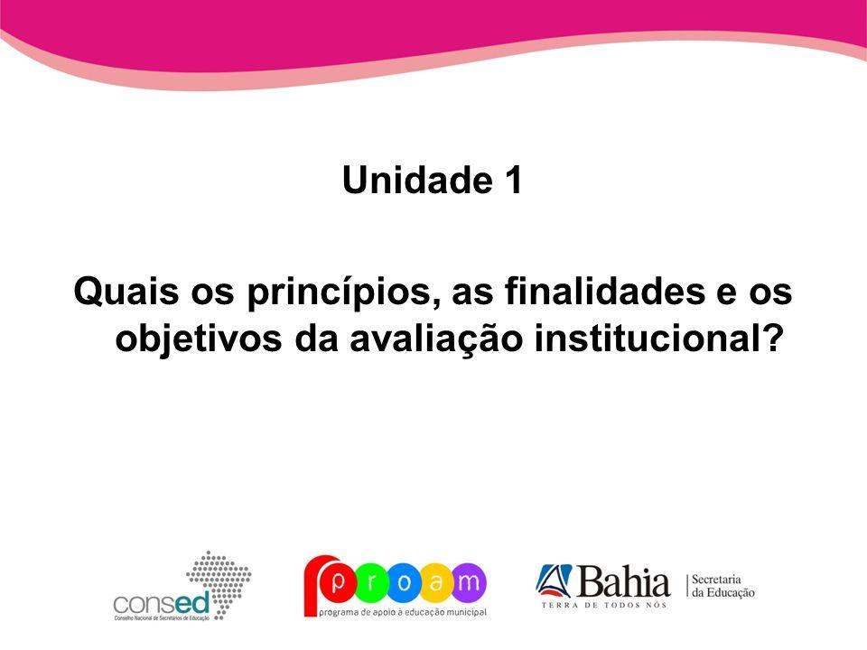 Unidade 1 Quais os princípios, as finalidades e os objetivos da avaliação institucional