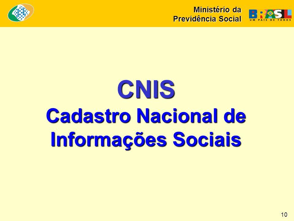 CNIS Cadastro Nacional de Informações Sociais