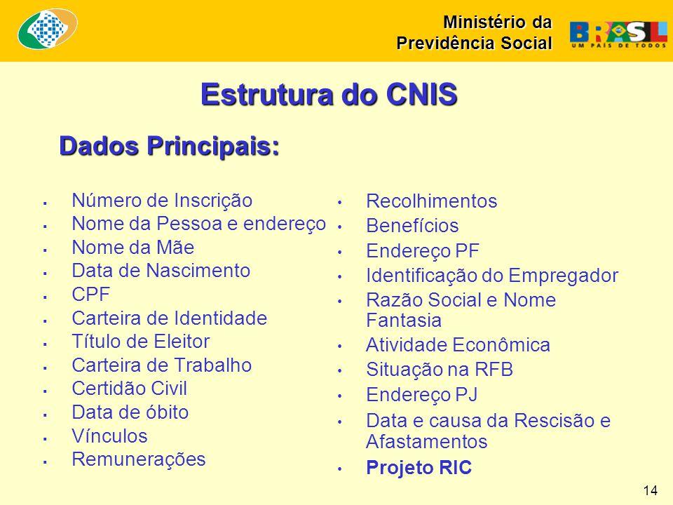 Estrutura do CNIS Dados Principais: Número de Inscrição