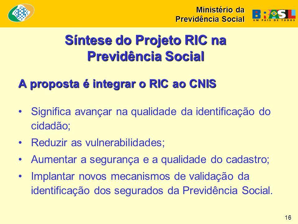 Síntese do Projeto RIC na Previdência Social