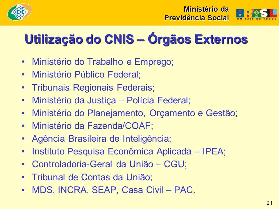 Utilização do CNIS – Órgãos Externos