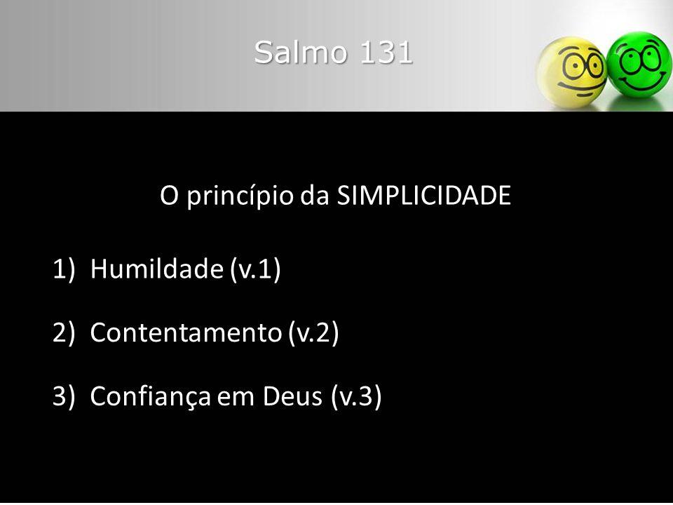 O princípio da SIMPLICIDADE