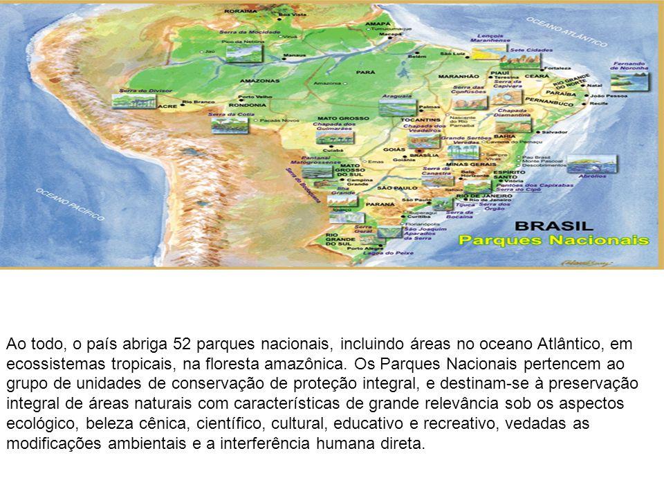 Ao todo, o país abriga 52 parques nacionais, incluindo áreas no oceano Atlântico, em ecossistemas tropicais, na floresta amazônica.