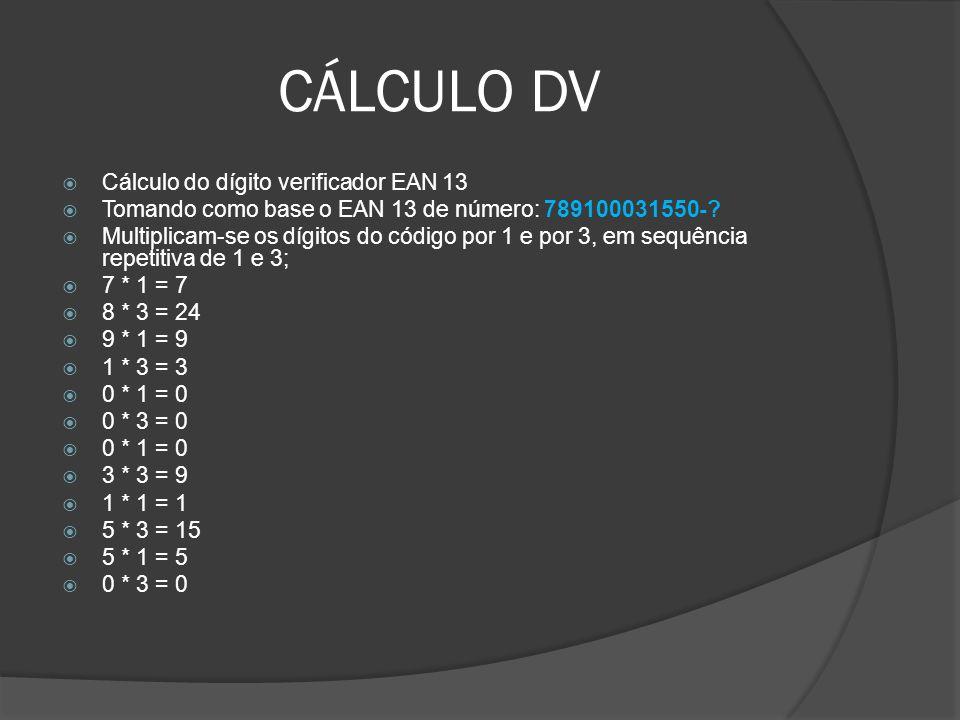 CÁLCULO DV Cálculo do dígito verificador EAN 13