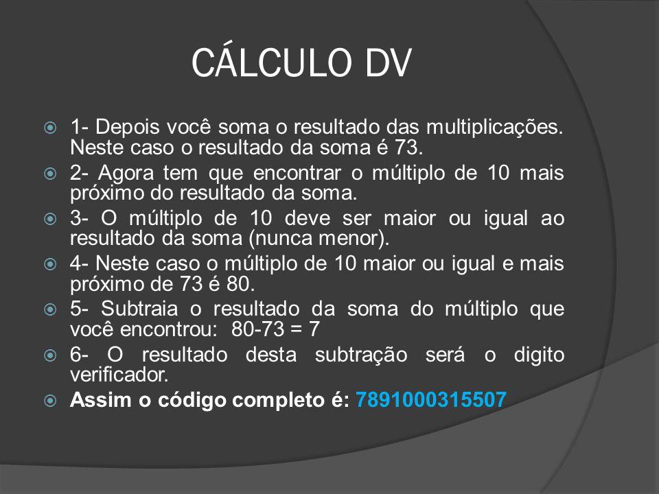 CÁLCULO DV 1- Depois você soma o resultado das multiplicações. Neste caso o resultado da soma é 73.