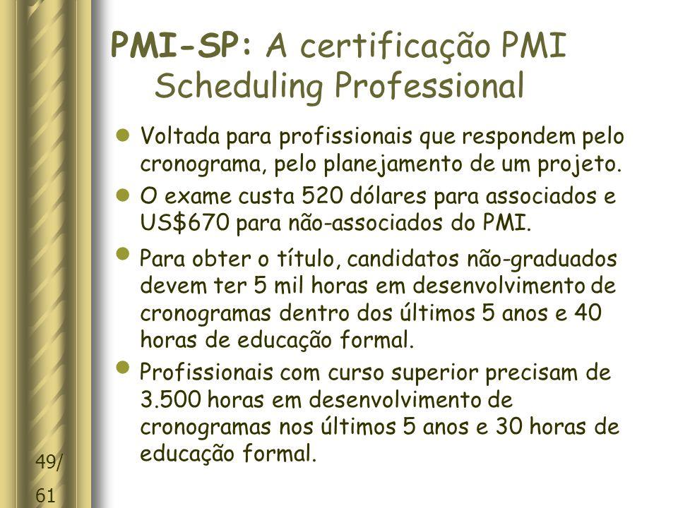 PMI-SP: A certificação PMI Scheduling Professional
