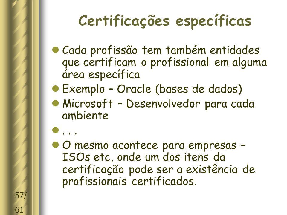 Certificações específicas