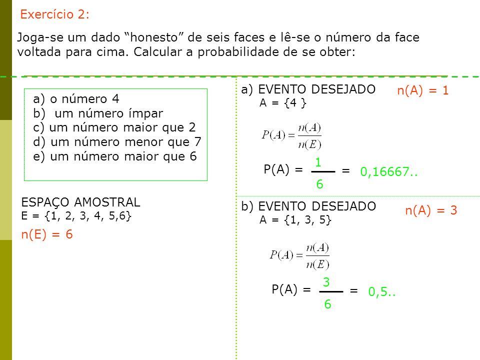 Exercício 2: Joga-se um dado honesto de seis faces e lê-se o número da face voltada para cima. Calcular a probabilidade de se obter: