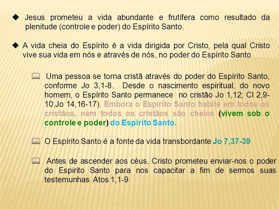  Jesus prometeu a vida abundante e frutífera como resultado da plenitude (controle e poder) do Espírito Santo.
