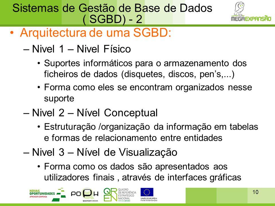 Sistemas de Gestão de Base de Dados ( SGBD) - 2