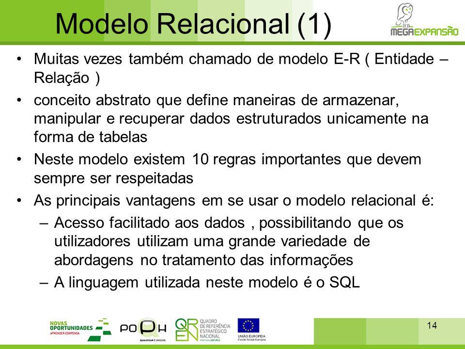 Modelo Relacional (1) Muitas vezes também chamado de modelo E-R ( Entidade – Relação )