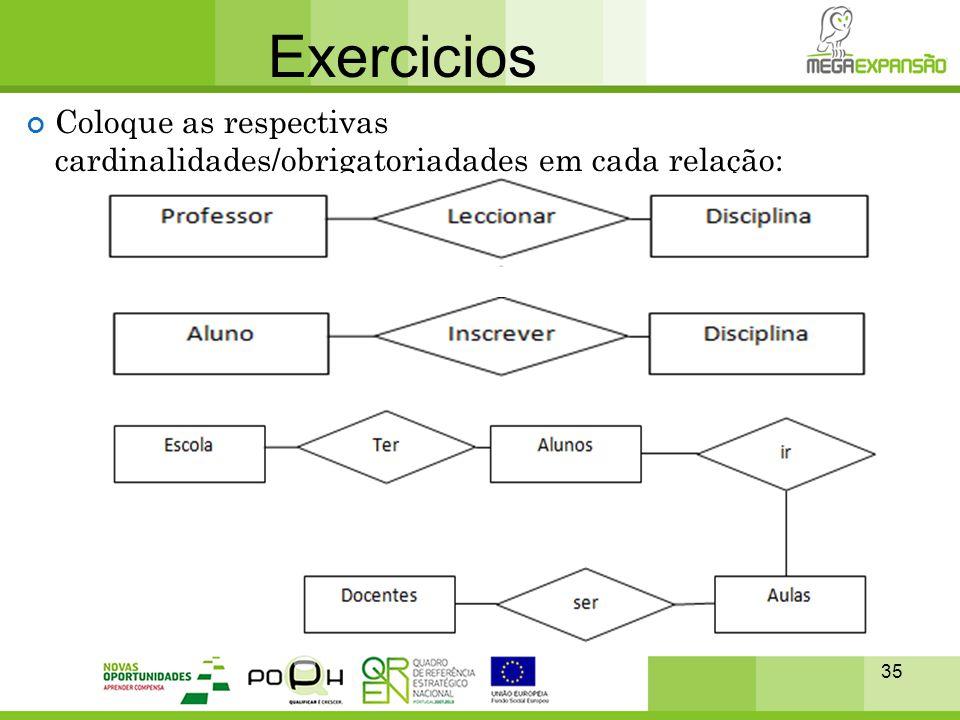 Exercicios Coloque as respectivas cardinalidades/obrigatoriadades em cada relação: