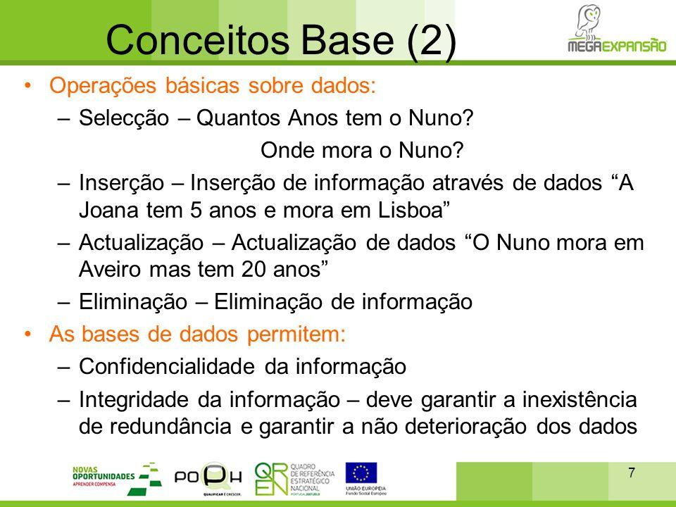 Conceitos Base (2) Operações básicas sobre dados: