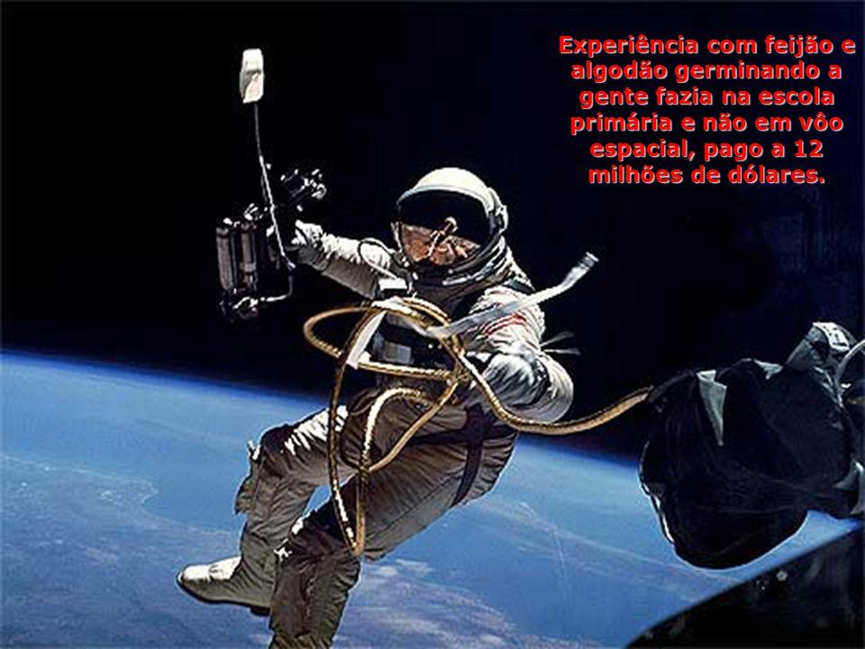 Experiência com feijão e algodão germinando a gente fazia na escola primária e não em vôo espacial, pago a 12 milhões de dólares.
