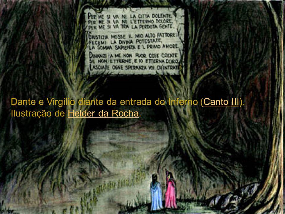 Dante e Virgílio diante da entrada do Inferno (Canto III)