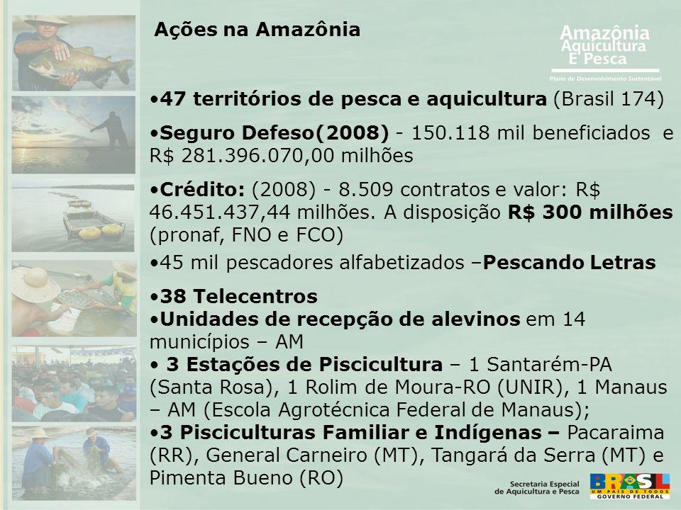 Ações na Amazônia 47 territórios de pesca e aquicultura (Brasil 174) Seguro Defeso(2008) - 150.118 mil beneficiados e R$ 281.396.070,00 milhões.