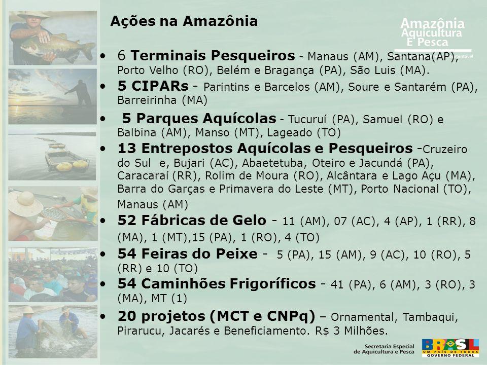 Ações na Amazônia 6 Terminais Pesqueiros - Manaus (AM), Santana(AP), Porto Velho (RO), Belém e Bragança (PA), São Luis (MA).