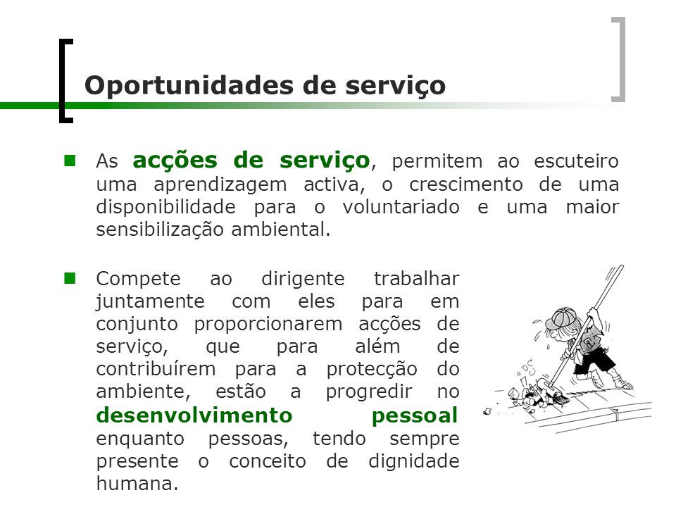 Oportunidades de serviço
