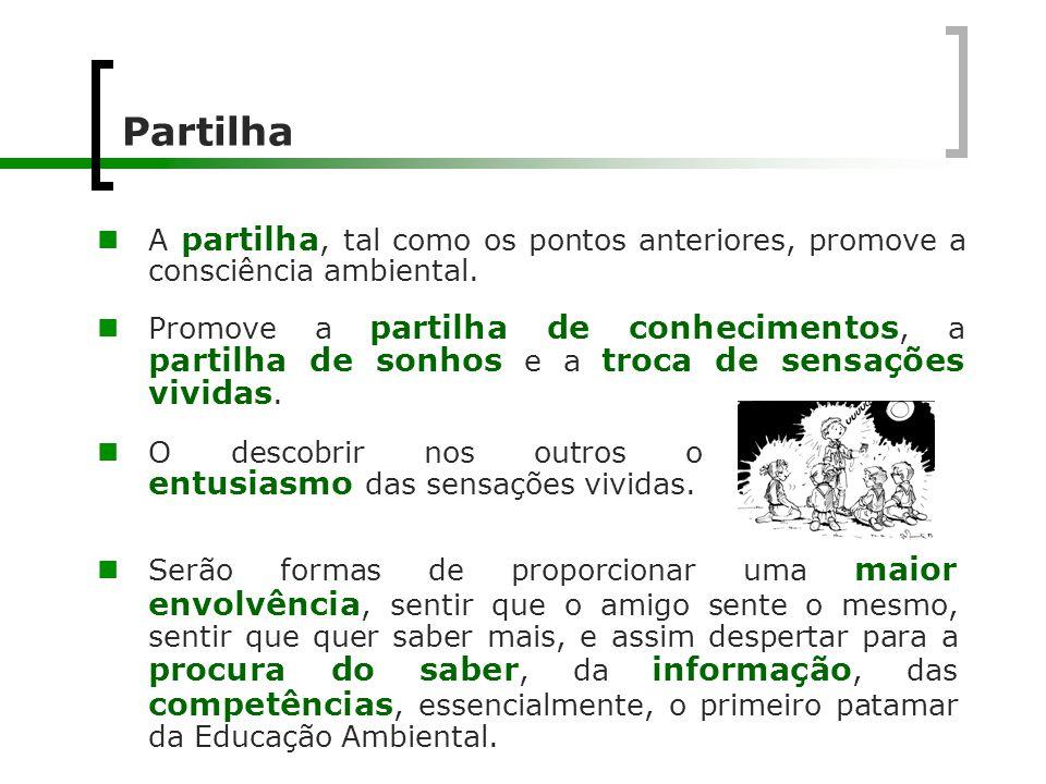 Partilha A partilha, tal como os pontos anteriores, promove a consciência ambiental.