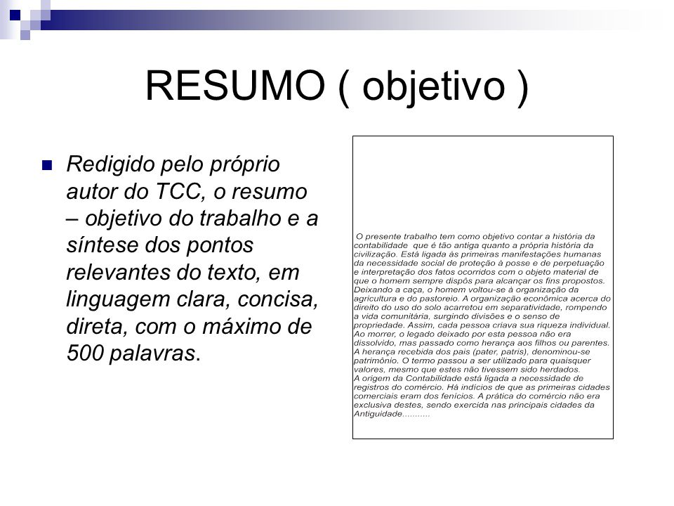 RESUMO ( objetivo )