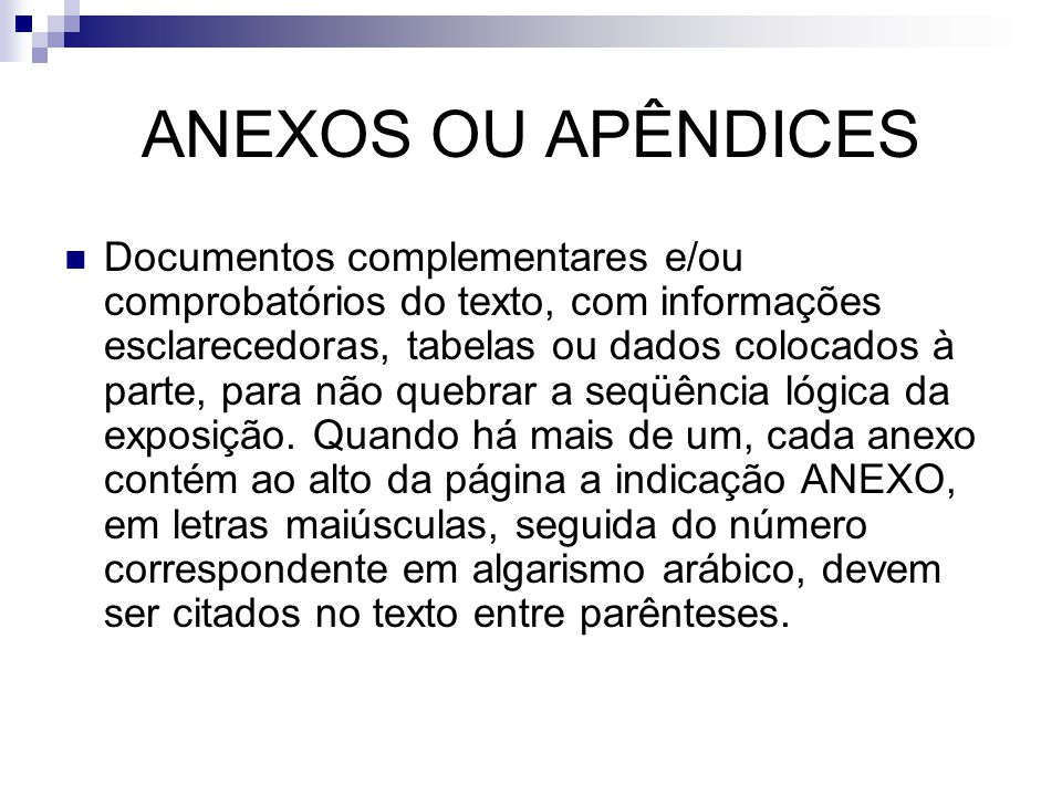 ANEXOS OU APÊNDICES
