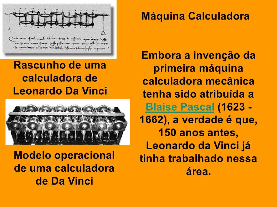 Modelo operacional de uma calculadora de Da Vinci