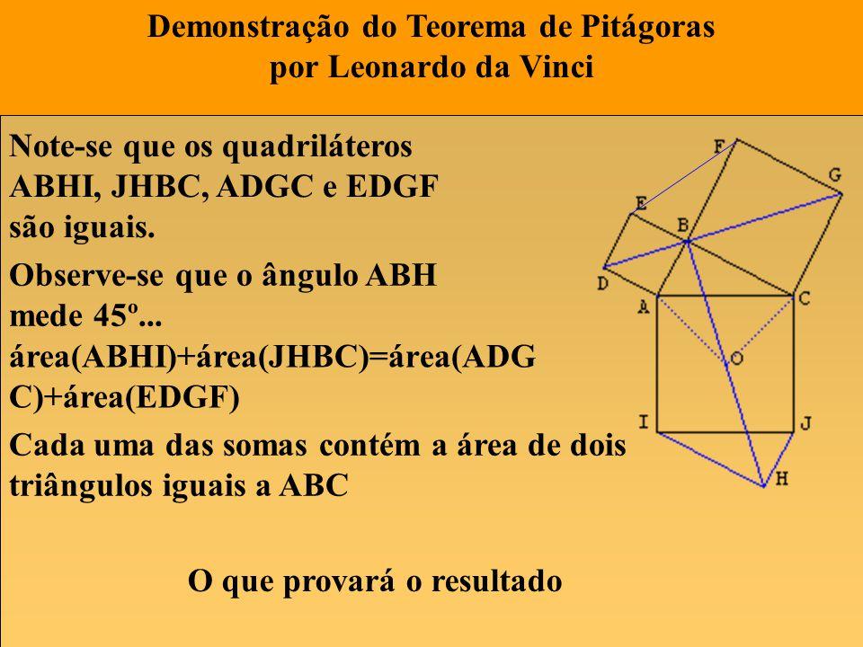 Demonstração do Teorema de Pitágoras por Leonardo da Vinci