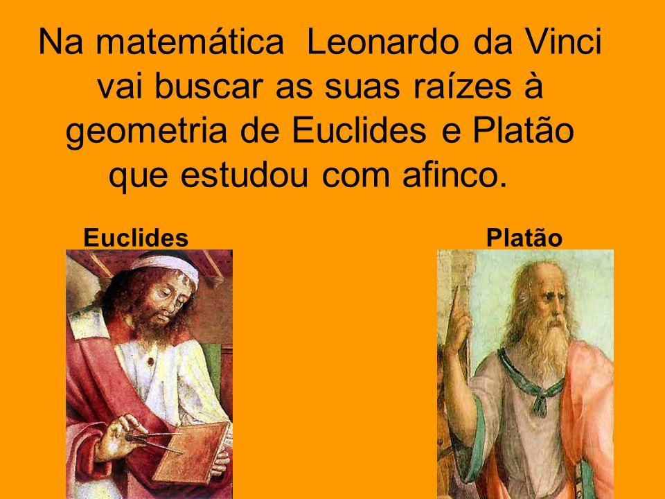 Na matemática Leonardo da Vinci vai buscar as suas raízes à geometria de Euclides e Platão que estudou com afinco.