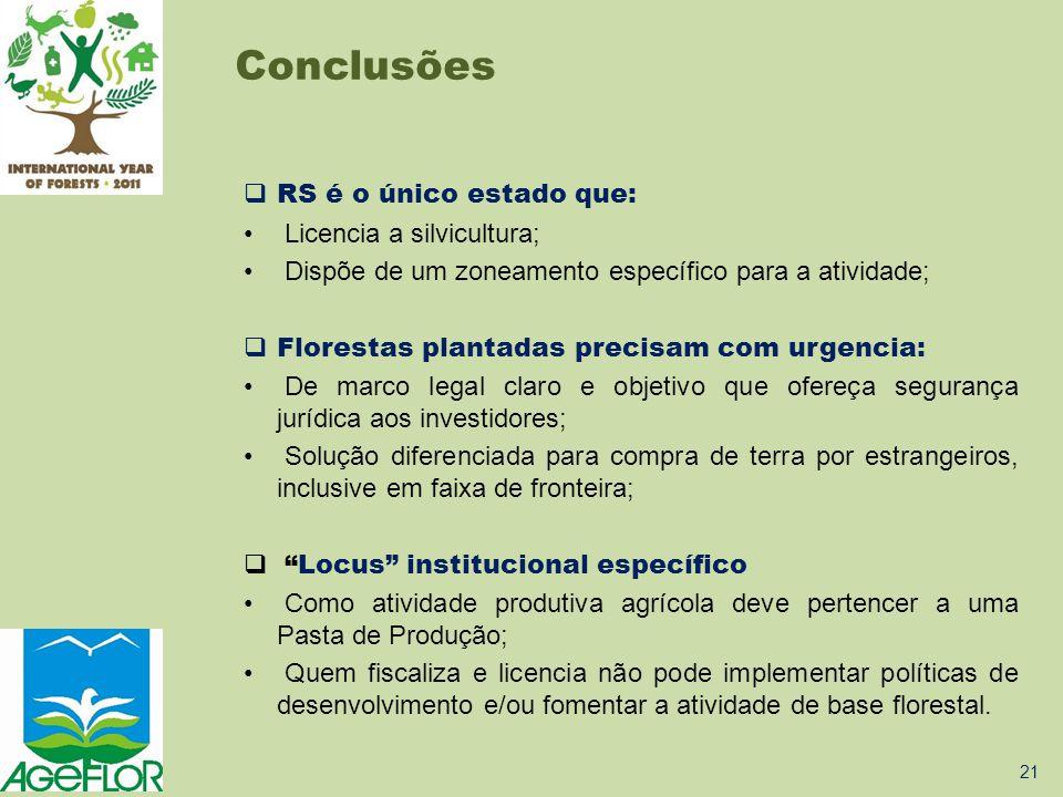 Conclusões RS é o único estado que: Licencia a silvicultura;