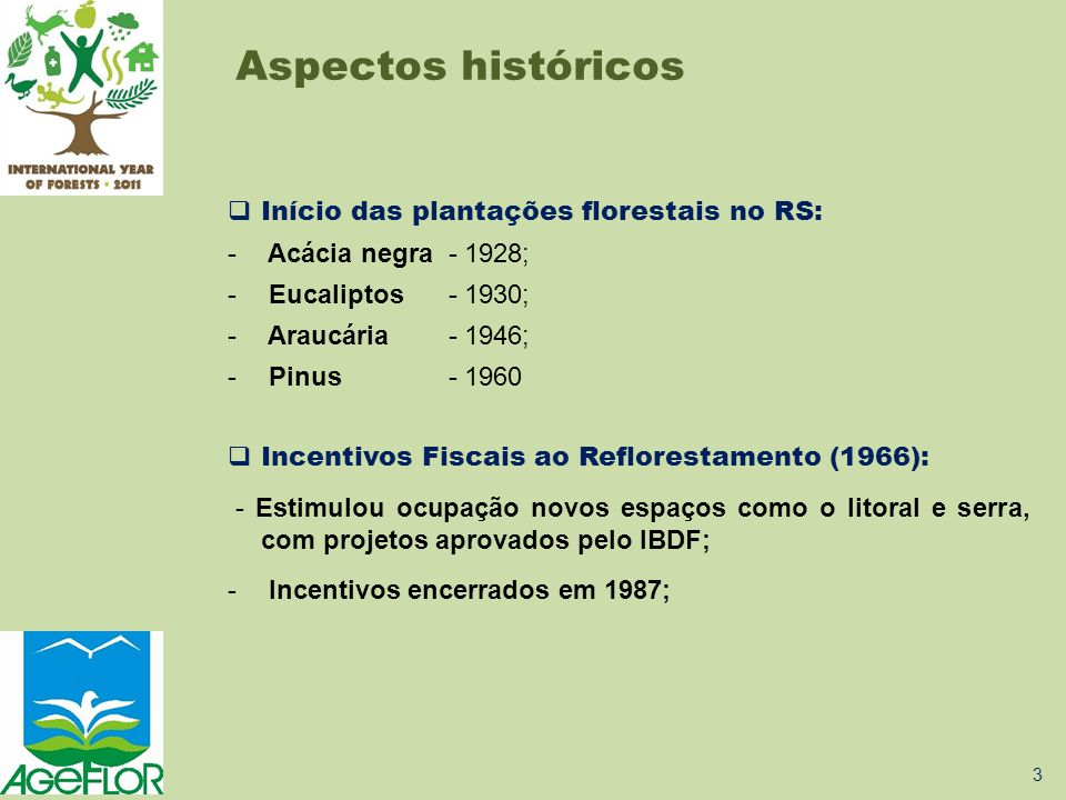 Aspectos históricos Início das plantações florestais no RS: