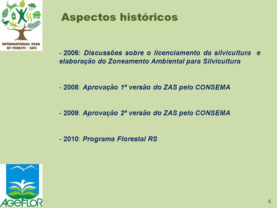 Aspectos históricos 2006: Discussões sobre o licenciamento da silvicultura e elaboração do Zoneamento Ambiental para Silvicultura.
