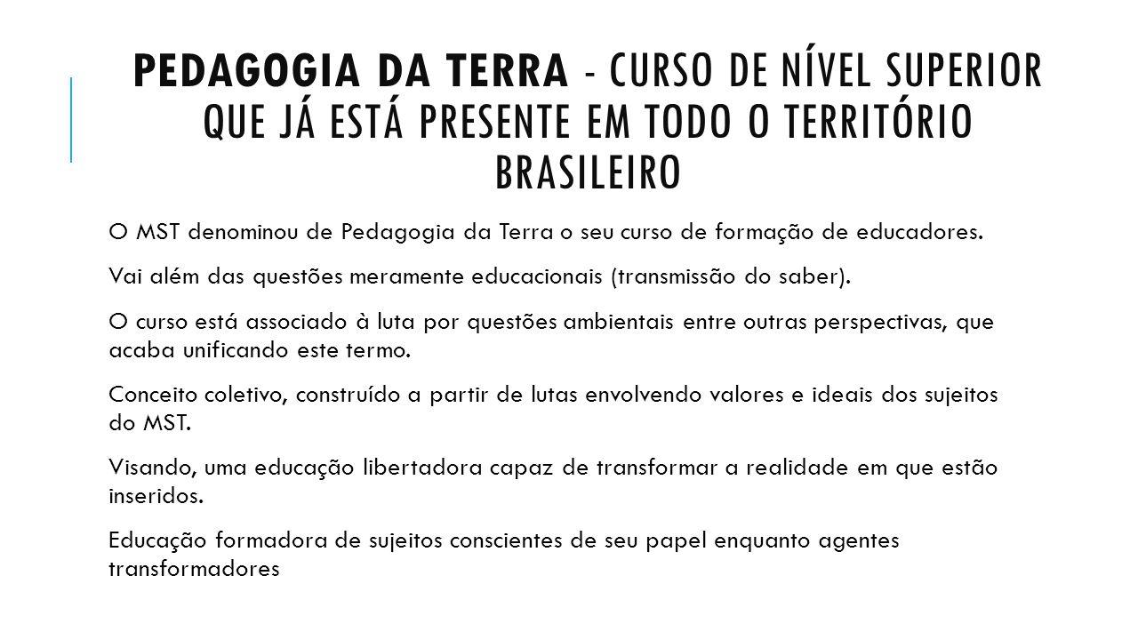 Pedagogia da terra - curso de nível superior que já está presente em todo o território brasileiro