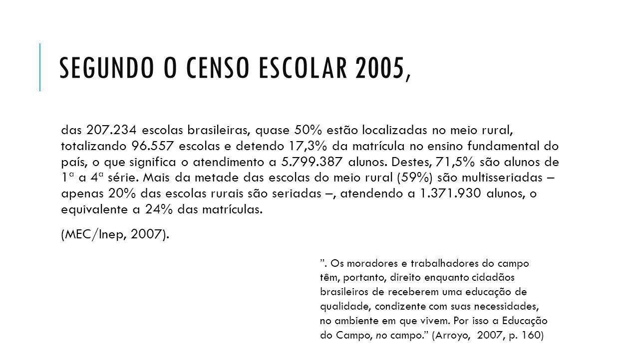 Segundo o Censo Escolar 2005,